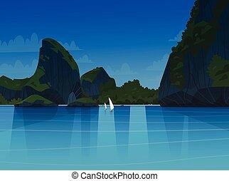 beau, montagne, été, marine, bord mer, côte, asiatique, mer, plage nuit, paysage, vue