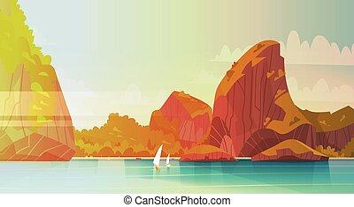 beau, montagne, été, marine, bord mer, côte, asiatique, mer, plage, paysage, vue