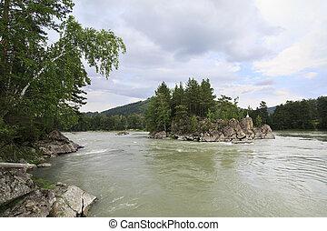 beau, montagne, île, milieu, katun., rivière