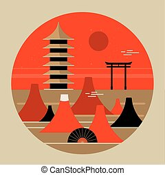 beau, montagne, affiche, voyage, japonaise, pagode, torri, fuji, portail, paysage