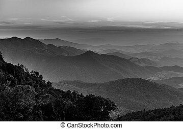 beau, montagne, blanc, noir, paysage