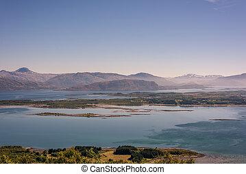 beau, montagne, campagne, norvège, mer, rural, distance., paysage