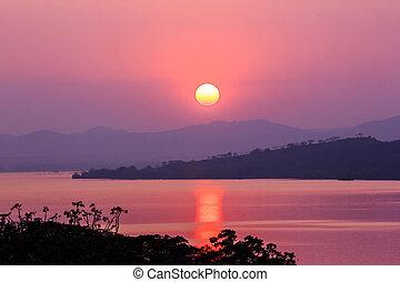 beau, montagne, coucher soleil, lac