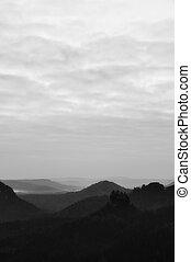 beau, montagne, czech-saxony, crêtes, vallonné, fond, ...