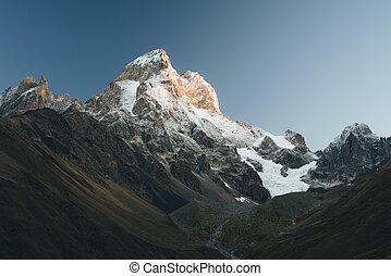 beau, montagne, géorgie, sommet, -, la plupart, ushba, caucase