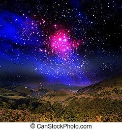beau, montagne, galaxie