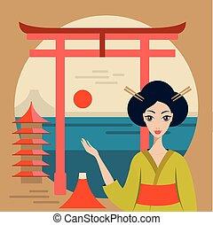 beau, montagne, geisha, voyage, fuji, torii, japon, bannière, temple