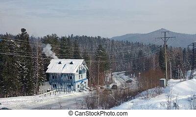beau, montagne, hiver, conduite, neigeux, voitures, paysage, long, route