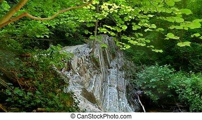 beau, montagne, nature, fluxs, forêt, sauvage, rivière, cliffs., paysage