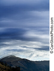 beau, montagne, nuages