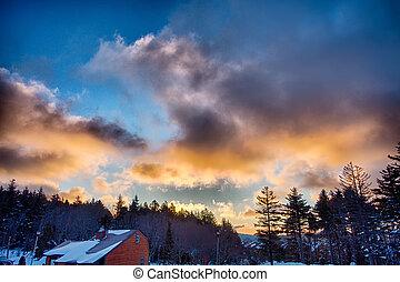 beau, montagne, ouest, sur, virginie, raquette, horizon, levers de soleil