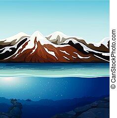 beau, montagne, paysage neige