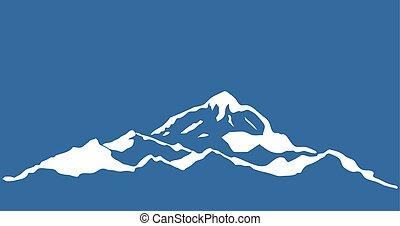 beau, montagne, silhouettes