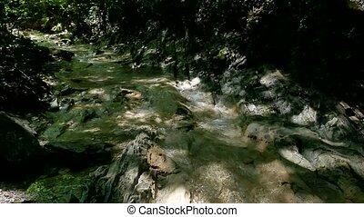 beau, montagne, vie sauvage, nature, eau, paysage, rocks., petit, rivière, montagnes