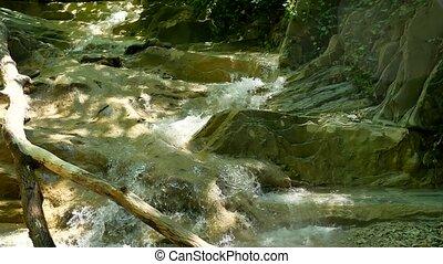 beau, montagne, vie sauvage, paysage nature, rocks., petit, rivière, montagnes
