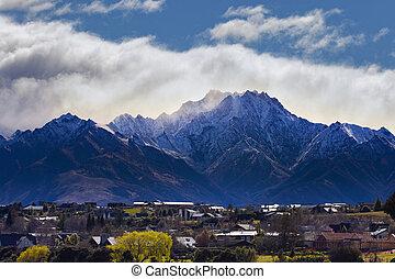 beau, montagne, zélande, scénique, lac, neige, ville,...