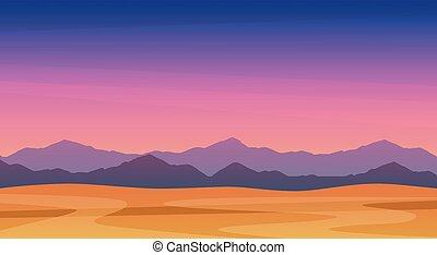 beau, montagnes, art, crépuscule, panorama, -, eps, illustration, paysage, vecteur, gratuite, scénique, crépuscule, montagnes