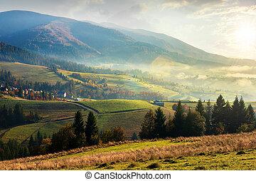 beau, montagnes, automne, campagne, levers de soleil