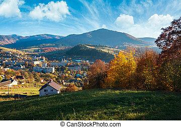 beau, montagnes, automne, soir, campagne