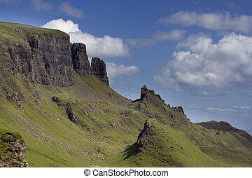beau, montagnes, ecosse, skye, gamme, quiraing, île