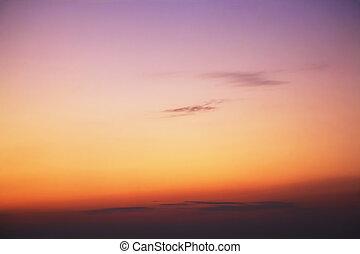 beau, montagnes, grand, coucher soleil, enfumé
