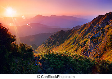beau, montagnes, levers de soleil