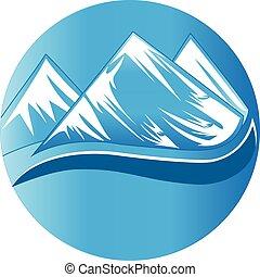 beau, montagnes, logo