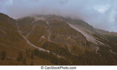 beau, montagnes, nuages, panorama, portée, élevé, vaches, sons, pâturage, cloches