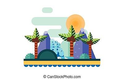 beau, montagnes, paumes, soleil, arbres, illustration, exotique, usines, sable, vecteur, plage, paysage