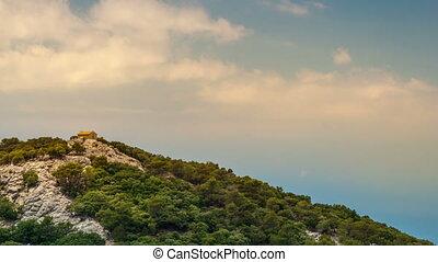 beau, montagnes, peu, rocheux, maison, paysage