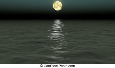 beau, moon., nuit, mer, sky.