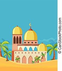 beau, mosquée, paysage