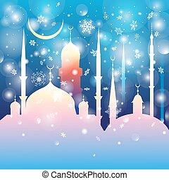 beau, mosquées, paysage