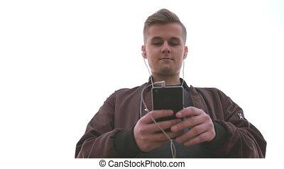 beau, motion., fond, mobile, tient, jeune, téléphone, lent,...
