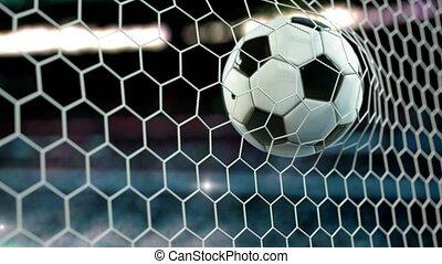 beau, mouches, balle, but, motion., football, lent, 4k, ...