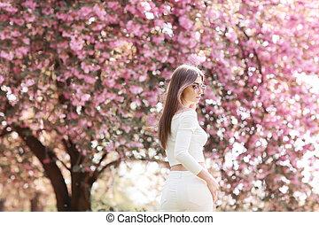 beau, mystique, mode, art, beauté, printemps, magique, fantasme, portrait., garden., girl, modèle