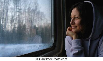 beau, nature, 4k., train, par, regarde, fenêtre, girl, caucasien