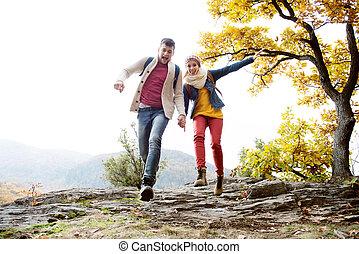 beau, nature, couple, ensoleillé, automne, courant, rocher
