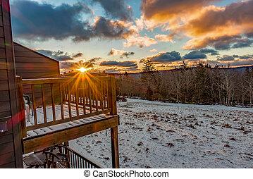beau, nature, virginie occidentale, raquette, recours, ski, levers de soleil
