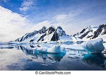 beau, neige-couvert, montagnes