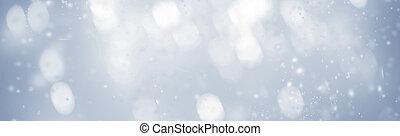 beau, noël, fond, à, flocons neige, et, scintillement, bokeh, stars., résumé, incandescent, brouillé, lumières
