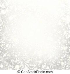 beau, noël, fond, fête, snowflakes., résumé, gris, lumières, color., lumières, étoiles, blanc, argent