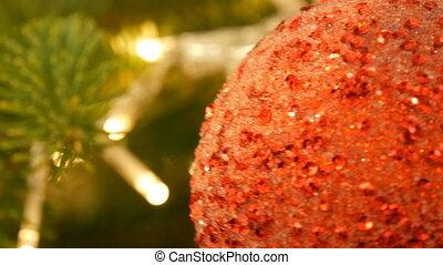 beau, noël, jouet, couleur, arbre, haut, pend, année, balle, élégant, fin, vue., nouveau, decor., rouges