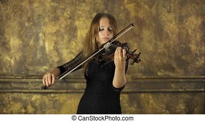beau, noir, violon, girl, robe, jouer, inspiration