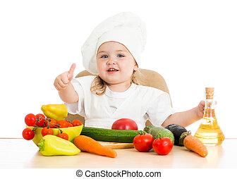 beau, nourriture, peu, légumes, girl