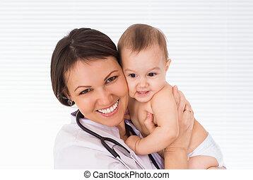 beau, nouveau né, docteur