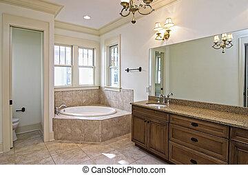 beau, nouveau, salle bains, construction