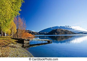 beau, nouvelle zélande, lac