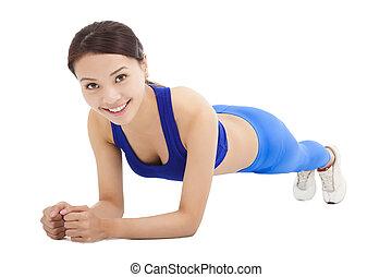 beau, noyau, femme, sportif, sol exercice