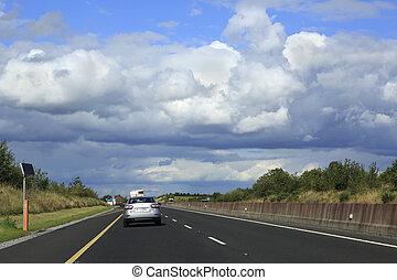 beau, nuages, pays, sur, ireland., orage, routes